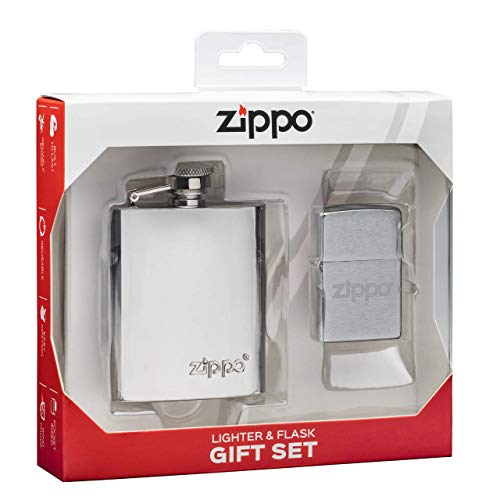 Zippo Gift Set Flask and Lighter, Metall, Messing, 22.5 cm