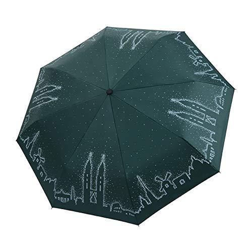 Kentop Moda Paraguas Plegable Resistente Antiviento con Patrón de Torre Gemela para...
