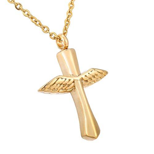 HooAMI 手元供養 メモリアルペンダント 防水中空 クロスペンダント ネックレス 天使の翼 ステンレス 遺骨ペンダント ゴールド 3.8cmx2.8cm