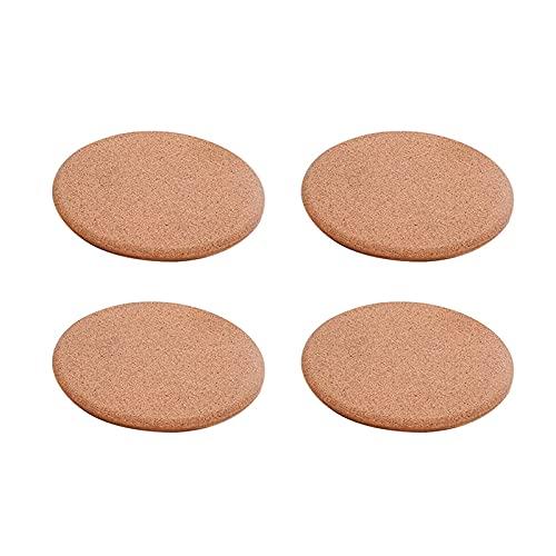 Juego de manteles individuales de corcho, redondos, para ollas calientes, sartenes y hervidores (color madera, tamaño: 160 mm)