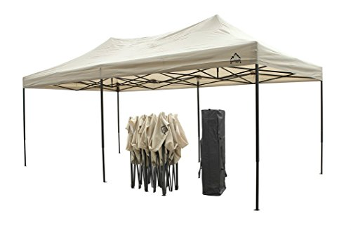 All Seasons Gazebos, Choice of colours, 3x6m (10ft x 20ft) Heavy Duty, Fully Waterproof, PVC Coated, Premium Pop Up Gazebo + Carry Bag With Wheels & 4 x Superior Leg Weight bags. (Beige)