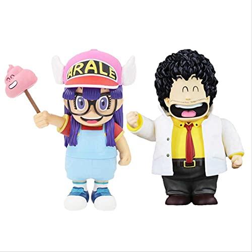 QWYU 2 Stück/Set 22 cm Anime Dr Slump Arale Senbei Norimak Actionfigur Gemalte PVC-modellspielzeugpuppe Im Maßstab 1/7