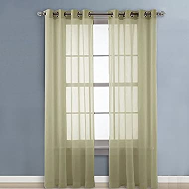 NICETOWN Sheer Window Curtains Panels - Light Filtering Voile Curtain Panels With Ring Top (2-Pack, 54 Wide x 96 inch Long, Sage)