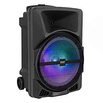 Pyle Wireless Portable PA Speaker System - 800W Powered Bluetooth Indoor & Outdoor DJ Stereo Loudspeaker with USB SD MP3 AUX 3.5mm Input Flashing Party Light & FM Radio-PPHP1244B
