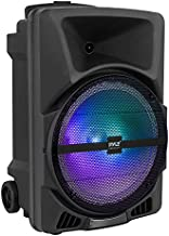 Pyle Wireless Portable PA Speaker System - 800W Powered Bluetooth Indoor & Outdoor DJ Stereo Loudspeaker with USB SD MP3 AUX 3.5mm Input, Flashing Party Light & FM Radio-PPHP1244B
