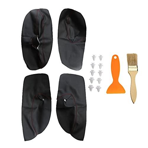 JIABIN Songz Store Puerta de Cuero de Microfibra de Cuero Cubierta de reposabrazos Interior Puerta Pantalla Protectora Fit para Volkswagen Bora Golf 4 2002-2006 Negro +Rojo (Color Name : Black)