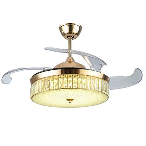 Ventilador de Techo LED de 42 Pulgadas con Lámpara, Araña Cristal con Luz de Ventilador, para Estudio, Sala de Estar Iluminación (dorada), 3 Aspas ABS, Con Interruptor de pared