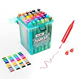 HIMI Water Based Markers, Dual Tip Permanent Artist Art Markers Sketch Markers for Kids Adults Coloring, Come with a Portable Case,36 Colors