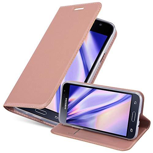 Cadorabo Custodia Libro per Samsung Galaxy J3 2016 in CLASSY ORO ROSA – con Vani di Carte, Funzione Stand e Chiusura Magnetica – Portafoglio Cover Case Wallet Book Etui Protezione