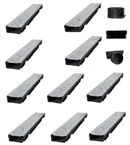Bielbet Entwässerungsrinne h= 55mm 13,25€/m 10m Set inkl.Endkappen und Anschlussstück DN110