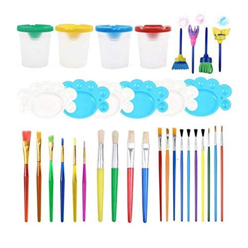 GYZX 34 Stück Kinder Malutensilien Pinsel Tasse mit Deckel Palette Mehrfarbige...