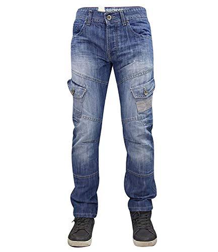 Designer-Hose für Herren von Crosshatch, sandgestrahlt, geknöpfter Hosenschlitz, Cargo-Jeans, normale Passform Gr. 46W x 32L, Light wash