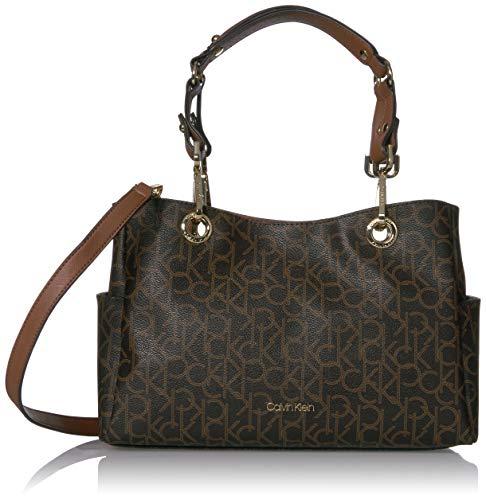 Calvin Klein Sonoma Signature Key Item Satchel, Brown/khaki/luggage saffiano