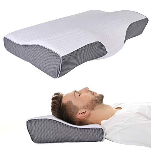 Cervical Pillow for Sleeping Contour Memory Foam Support Pillows for Side Back and Stomach Sleepers Ergonomic Bed Pillow Relieve Neck Shoulder Pain with Washable Covers