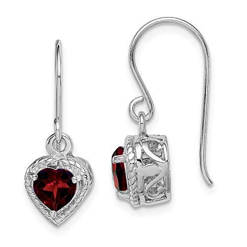925 Sterling Silver Red Garnet Small Heart Drop Dangle Chandelier Earrings Love Fine Jewelry For Women Gifts For Her