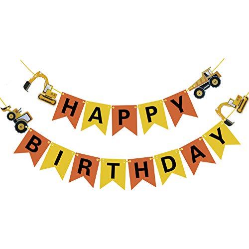 Phogary Bau Alles Gute zum Geburtstag Banner Dekorationen gehören Bagger Bulldozer Truck für Auto Fahrzeug Zone Motto Party Begünstigt Lieferungen Dekor für Junge Kinder