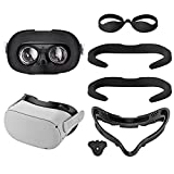 Ahroy Resilient VR Facial Vent Soft Interface Bracket with Anti-Leakage Nose Pad, 2 pcs PU Anti-Dirt Sweat-Proof Foam Face Cover Pad, Silicone Light Blockers, Face Cover 5-in-1 Set for Oculus Quest 2