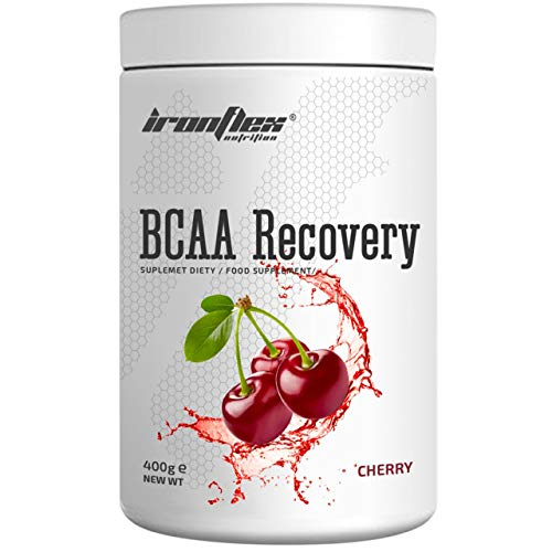 IronFlex BCAA Recovery - 1 Pack - Branched Chain Amino Acids in Powder - Muscle Regeneration - Anticatabolic - with Glutamine (Cherry, 400g)