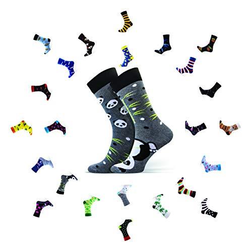 Sesto Senso Lustige Baumwolle Socken Damen Herren 1-3 Paare Bunte Ungleiche Funny Socks Bambus 38-41 Panda