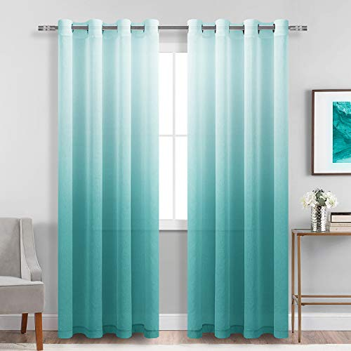 DWCN Faux Linen Ombre Sheer Curtains - Gradient Semi Voile Grommet Top Window Curtains for Bedroom and Living Room, Set of 2 Panels, 52 x 84 Inches Long, Teal
