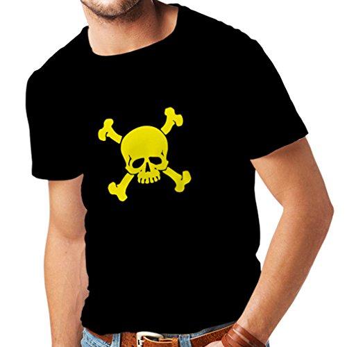 lepni.me Camisetas Hombre Calavera y Tibias Cruzadas, señal de Advertencia - No Tocar (Large Negro Amarillo)