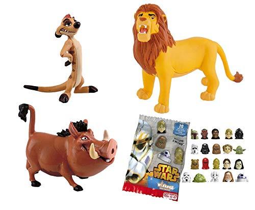 Lote 3 Figuras Comansi EL Rey Leon. Timón - Pumba - Simba Adulto + Regalo