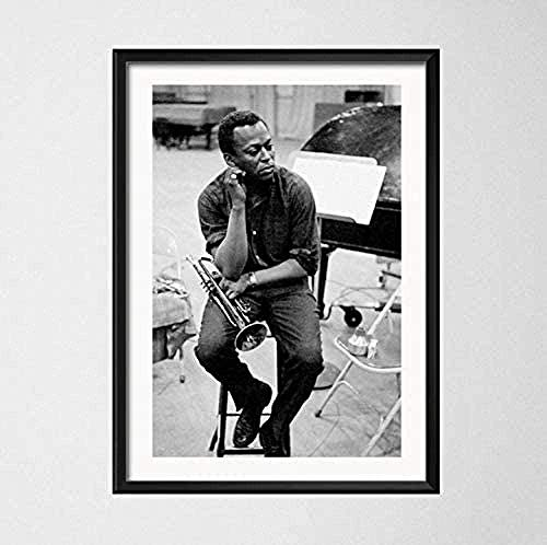YUSHIJIA AS65ST12 Lona Impresiones - Miles Davis Azul Jazz músico más Grande...