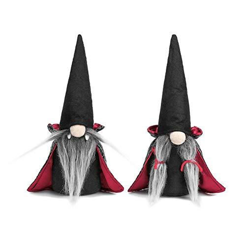 Corwar Halloween GNOME Plüsch Dekor, 2er Pack handgefertigte Tomte schwedische GNOME Nisse skandinavische GNOME Ornamente mit schwarzem Hexenumhang Hut Halloween Tischdekoration Geschenke
