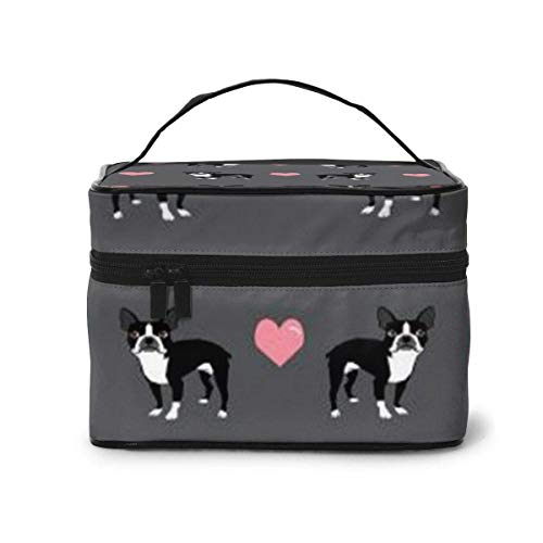 Vanity et Trousses à Maquillage Boston Terrier Love Hearts Travel Cosmetic Case Organizer Portable Artist Storage Bag with,Built-in Pocket,Multifuncti