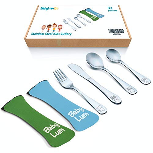 32 Piece Utensils Set for Kids, Stainless Steel Cutlery Flatware, Silverware for Toddler and Child, 8 Place Settings with 8 Knives, 8 Forks, 8 Spoons, 8 Dessert Spoons, Green & Blue Soft Case - BabyLum BabyLum