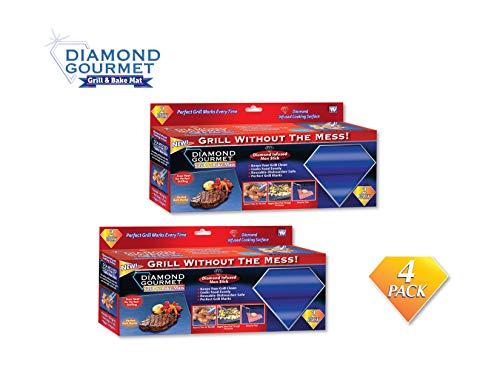 Spark Innovators Diamond Gourmet Grill & Bake Mats - Set of 4 - As Seen on TV - Grilling, BBQ
