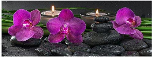 levandeo Glasbild 80x30cm Wandbild aus Glas rosa Orchideen Blume Steine Bambus Feng Shui