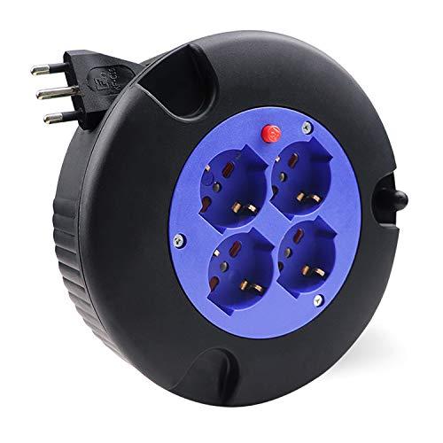 EXTRASTAR Prolunga Elettrica con Avvolgicavo 5 mt,4 Prese Polivalenti (Schuko + 10/16A),Spina 16A,Sezione Cavo 3G 1,0 mm²