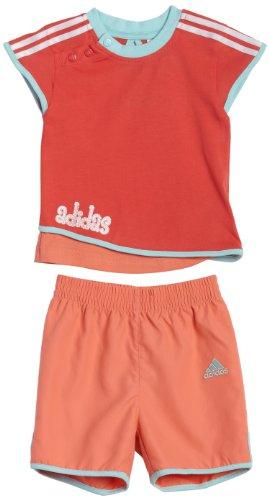 adidas Conjunto Baby Niña Camiseta + Short Rojo-Coral - 80 (9-12 meses)