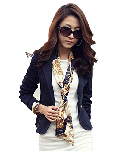 Blazer feminino de manga comprida Bestgift, Azul, US S(Asian M)