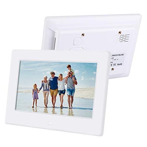 Topiky Digitale fotolijst, 7 inch 1080p, HD met elektronische fotolijst met afstandsbediening voor luidspreker/wekker/MP3/MP4/SD-kaart/USB/AUX-cadeau, Wit.