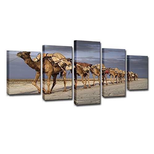 Lienzo Creativo HD Pintura Conjunto de 5 Piezas, Sala de Arte HD impresión Lienzo Pintura al óleo Desierto Camello decoración del hogar Pintura de Pared
