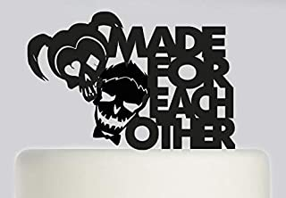 Cheyan Suicide Squad Made for Each Other Harley Quinn and Joker Acrylic Cake Topper Black Acrylic