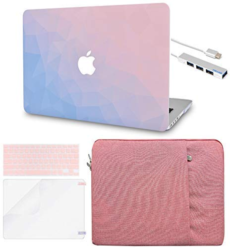 LuvCase 5 in 1 LaptopCase forMacBookPro 15 Touch Bar (2019/2018/2017/2016) A1990/A1707 HardShellCover, Sleeve, USB Hub 3.0, Keyboard Cover&Screen Protector (Ombre Pink Blue)