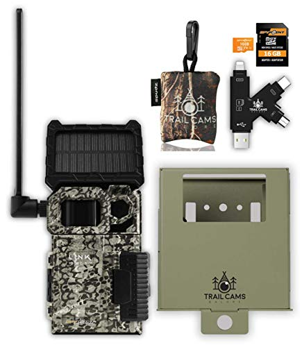 SPYPOINT Link-Micro-S-LTE Cellular Trail Camera with LIT-10 Battery, Micro SD Card, Card Reader, Steel Security Case and Spudz Microfiber Cloth Screen Cleaner (Link-Micro-S-LTE-V)