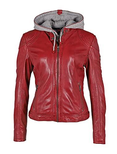 Damen Bikerjacke Lederjacke für den Übergang mit abnehmbarer Jersey Kapuze - GWAmmy LACUV (S, Rot)