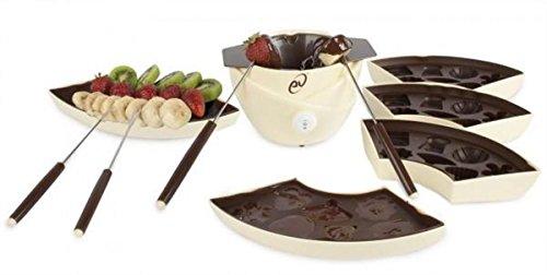Evviva chocoladefondue met 4 schalen, 4 siliconen vormen voor chocolade en 4 vorken, 22 watt vermogen