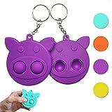 Mini Push Pop Bubble Fidget Sensory Toys, Mini Popitz Toys Pop it Keychain Toy Portable Handheld Fidget for Kids Adults Relief Anxiety Autism in Home School Office 2Pcs (Purple, Pig)