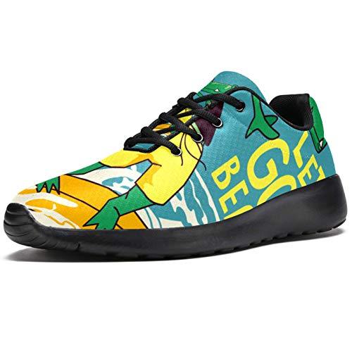 Zapatillas deportivas para correr para mujer, diseño de dinosaurio, surf, playa, de malla, transpirables, para caminar, senderismo, tenis, color, talla 37.5 EU