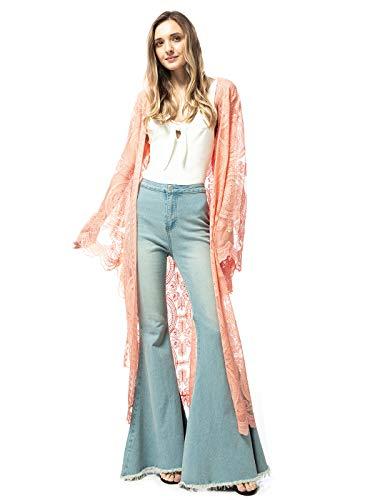 Anna-Kaci vrouwen kant geborduurd Maxi Kimono badpak Cover Up tailleband vest