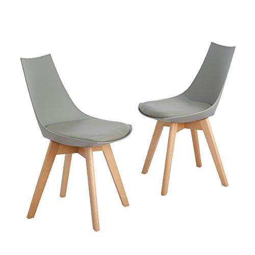 DORAFAIR Lot de 2 Chaise à Manger Scandinave avec Pieds en Bois de Hêtre Massif et Assise en PU,Gris