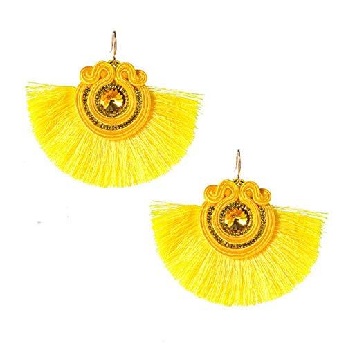 Gymqian Vintage Quirky Earrings Creative Design Ethnic Style Leather Drop Earring Fashion Jewelry for Women Soutache Handmade Weaving Big Hanging Earring Black Fashion/Yellow