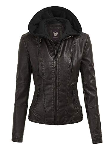 Lock and Love LL WJC1044 Womens Faux Leather Quilted Motorcycle Jacket with Hoodie L Black