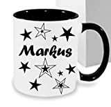 Personalisiertes/Individuelles Geschenk. Tasse Kaffeebecher Kaffee Tasse mit Namen und Sternen bedruckt - 3