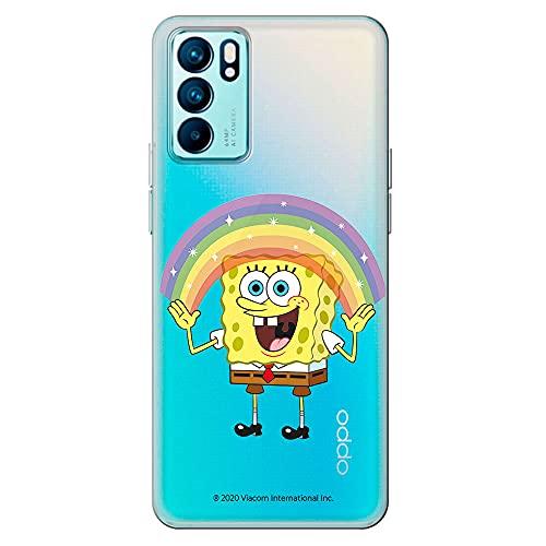 Movilshop Funda para [ OPPO Reno 6 Pro 5G ] Bob Esponja Oficial [Arco-Iris] Nickelodeon de Silicona Flexible Transparente Carcasa Case Cover Gel para Smartphone.